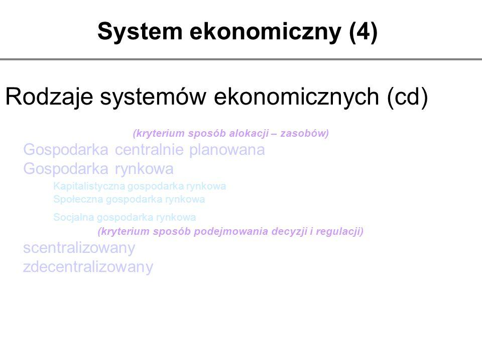 System ekonomiczny (4) Rodzaje systemów ekonomicznych (cd) (kryterium sposób alokacji – zasobów) Gospodarka centralnie planowana Gospodarka rynkowa Ka