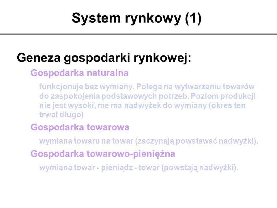 System rynkowy (1) Geneza gospodarki rynkowej: Gospodarka naturalna funkcjonuje bez wymiany. Polega na wytwarzaniu towarów do zaspokojenia podstawowyc