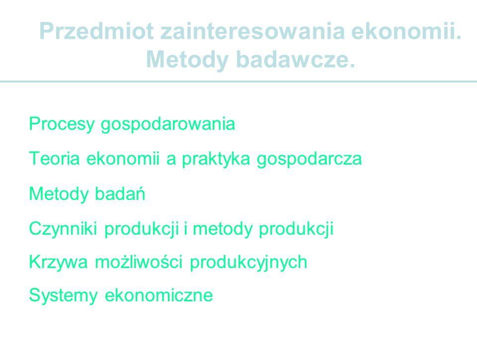 Ekonomia Oikos – domNomos – prawo Ekonomia bada tendencje zmian wielkości produkcji, cen, zatrudnienia, bezrobocia etc.