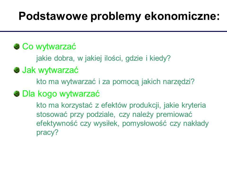 Podstawowe problemy ekonomiczne: Co wytwarzać jakie dobra, w jakiej ilości, gdzie i kiedy? Jak wytwarzać kto ma wytwarzać i za pomocą jakich narzędzi?