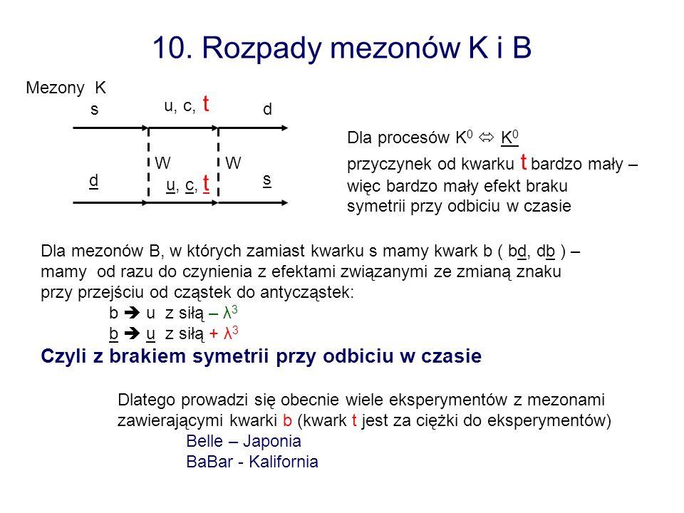 10. Rozpady mezonów K i B s d d s WW u, c, t Dla procesów K 0 K 0 przyczynek od kwarku t bardzo mały – więc bardzo mały efekt braku symetrii przy odbi