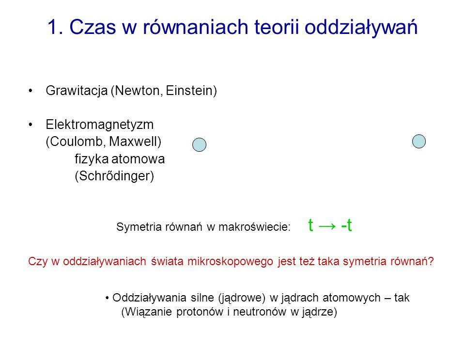1. Czas w równaniach teorii oddziaływań Grawitacja (Newton, Einstein) Elektromagnetyzm (Coulomb, Maxwell) fizyka atomowa (Schrődinger) Symetria równań