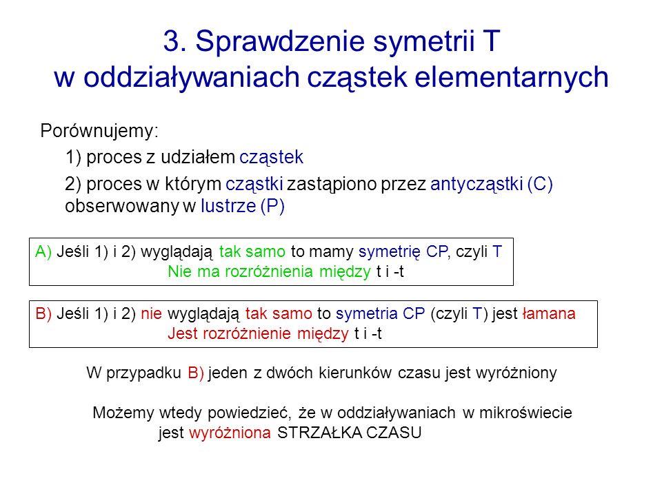 3. Sprawdzenie symetrii T w oddziaływaniach cząstek elementarnych Porównujemy: 1) proces z udziałem cząstek 2) proces w którym cząstki zastąpiono prze