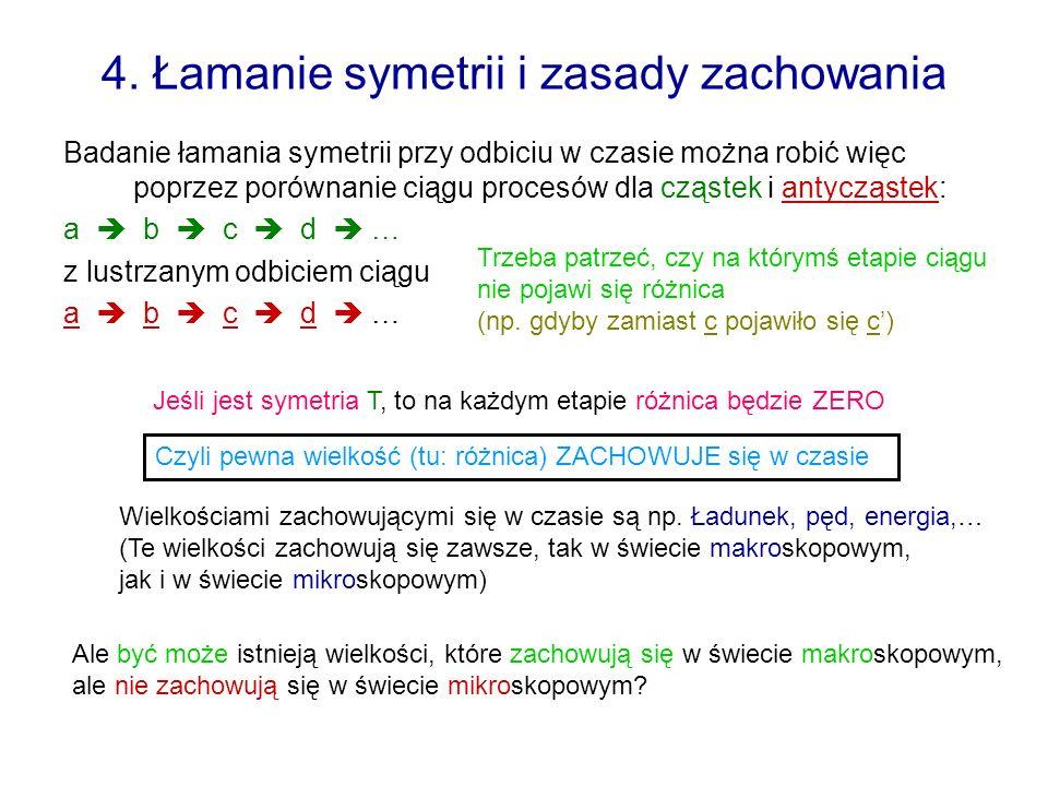4. Łamanie symetrii i zasady zachowania Badanie łamania symetrii przy odbiciu w czasie można robić więc poprzez porównanie ciągu procesów dla cząstek