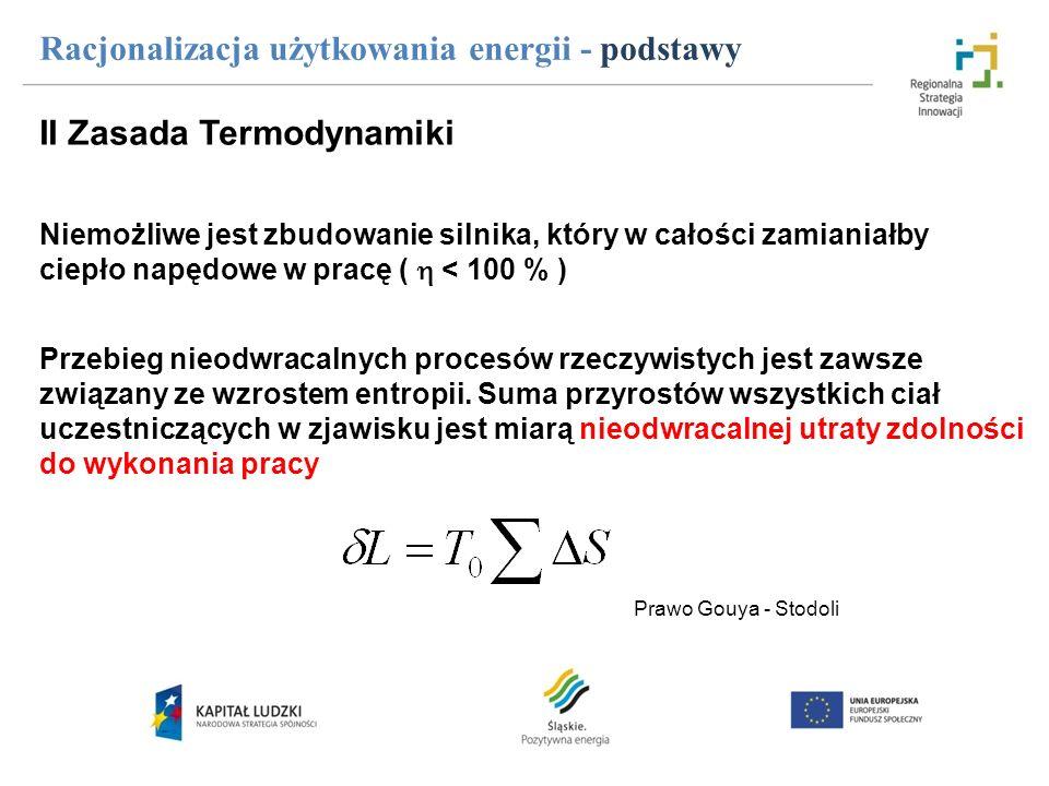 Racjonalizacja użytkowania energii - podstawy Prawo Gouya - Stodoli II Zasada Termodynamiki Niemożliwe jest zbudowanie silnika, który w całości zamian