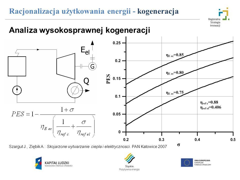 Analiza wysokosprawnej kogeneracji Racjonalizacja użytkowania energii - kogeneracja Szargut J., Ziębik A.: Skojarzone wytwarzanie ciepła i elektryczno