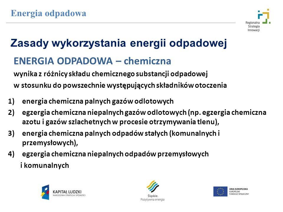 Energia odpadowa ENERGIA ODPADOWA – chemiczna wynika z różnicy składu chemicznego substancji odpadowej w stosunku do powszechnie występujących składni