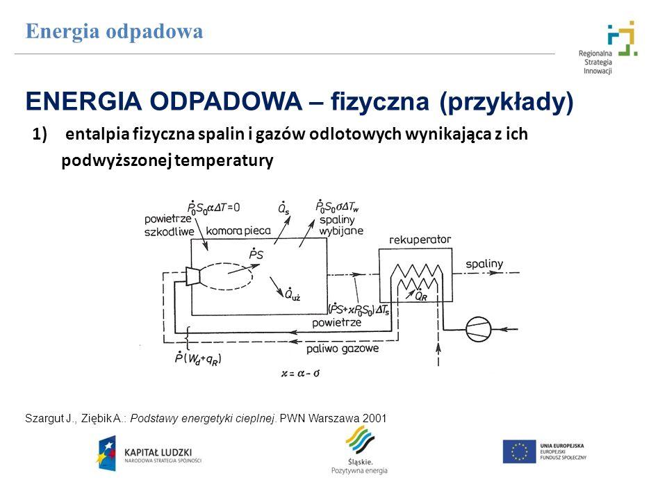 1)entalpia fizyczna spalin i gazów odlotowych wynikająca z ich podwyższonej temperatury Energia odpadowa ENERGIA ODPADOWA – fizyczna (przykłady) Szarg