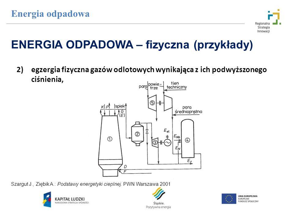 2)egzergia fizyczna gazów odlotowych wynikająca z ich podwyższonego ciśnienia, Energia odpadowa ENERGIA ODPADOWA – fizyczna (przykłady) Szargut J., Zi
