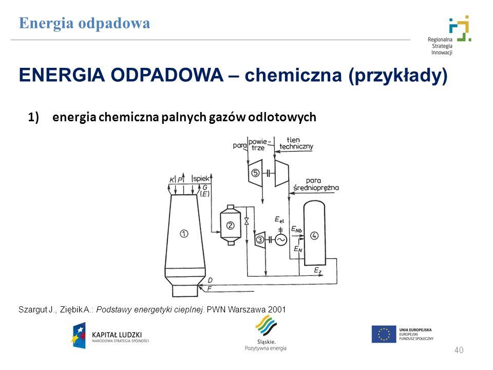 40 1)energia chemiczna palnych gazów odlotowych Energia odpadowa ENERGIA ODPADOWA – chemiczna (przykłady) Szargut J., Ziębik A.: Podstawy energetyki c