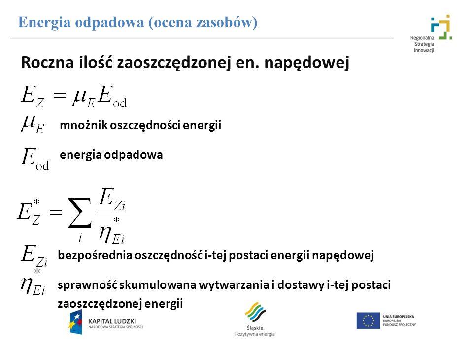 Roczna ilość zaoszczędzonej en. napędowej Energia odpadowa (ocena zasobów) mnożnik oszczędności energii energia odpadowa bezpośrednia oszczędność i-te