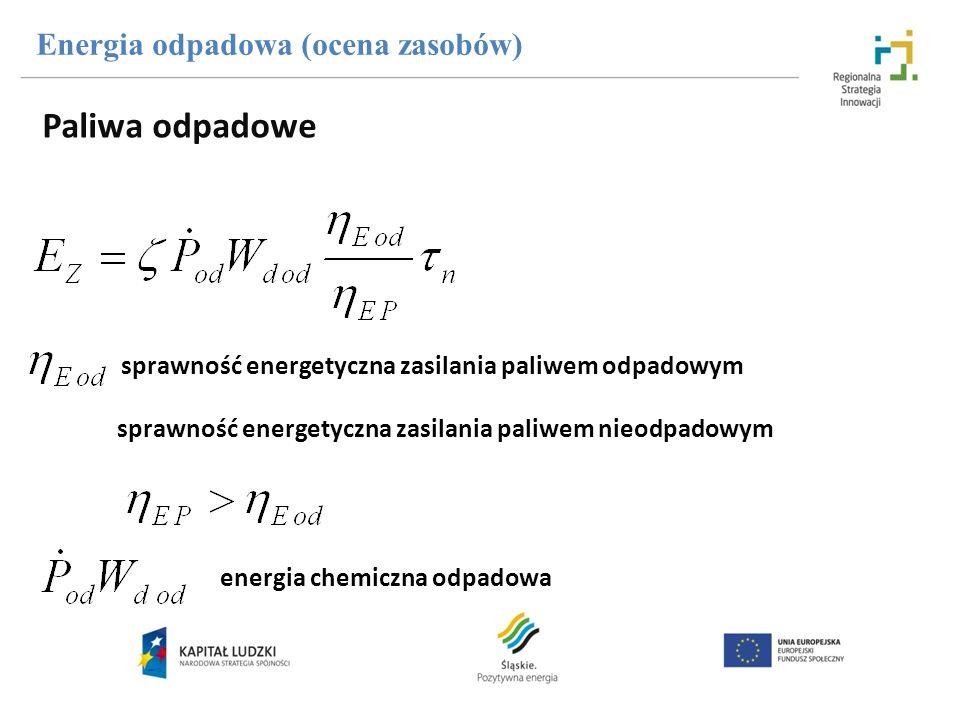 sprawność energetyczna zasilania paliwem odpadowym sprawność energetyczna zasilania paliwem nieodpadowym energia chemiczna odpadowa Energia odpadowa (