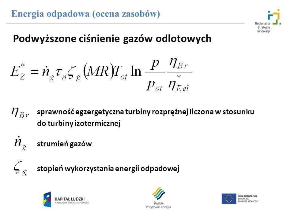 sprawność egzergetyczna turbiny rozprężnej liczona w stosunku do turbiny izotermicznej strumień gazów stopień wykorzystania energii odpadowej Energia