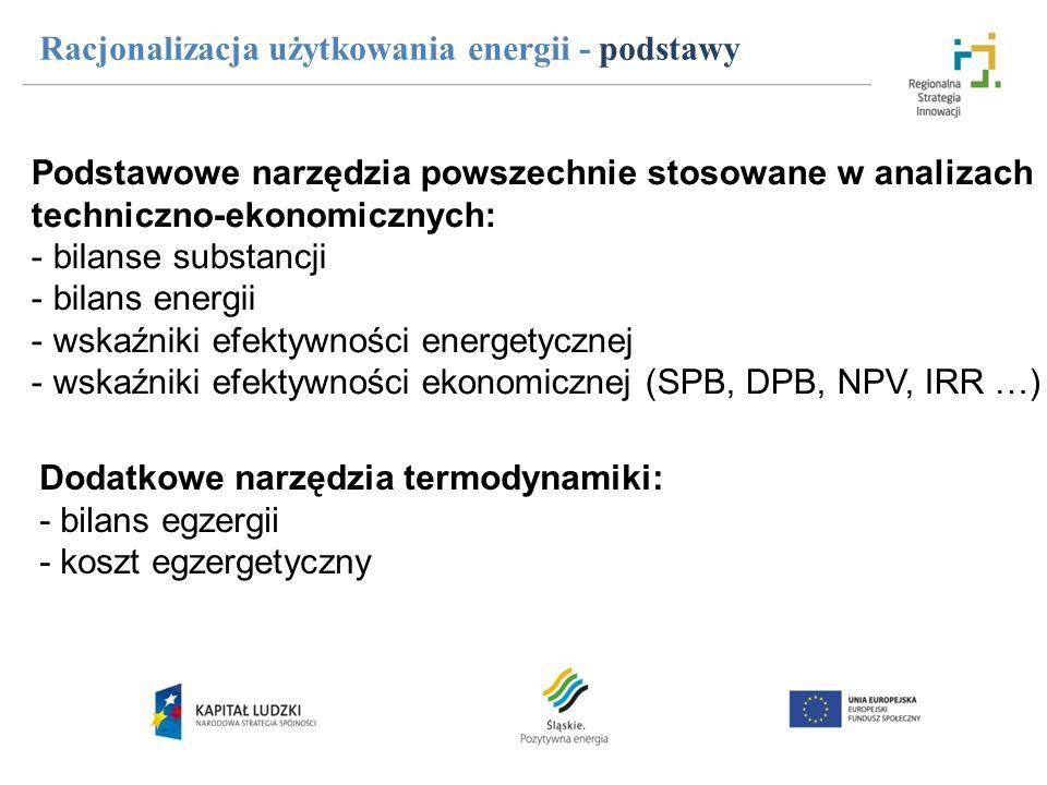Racjonalizacja użytkowania energii - podstawy Podstawowe narzędzia powszechnie stosowane w analizach techniczno-ekonomicznych: - bilanse substancji -