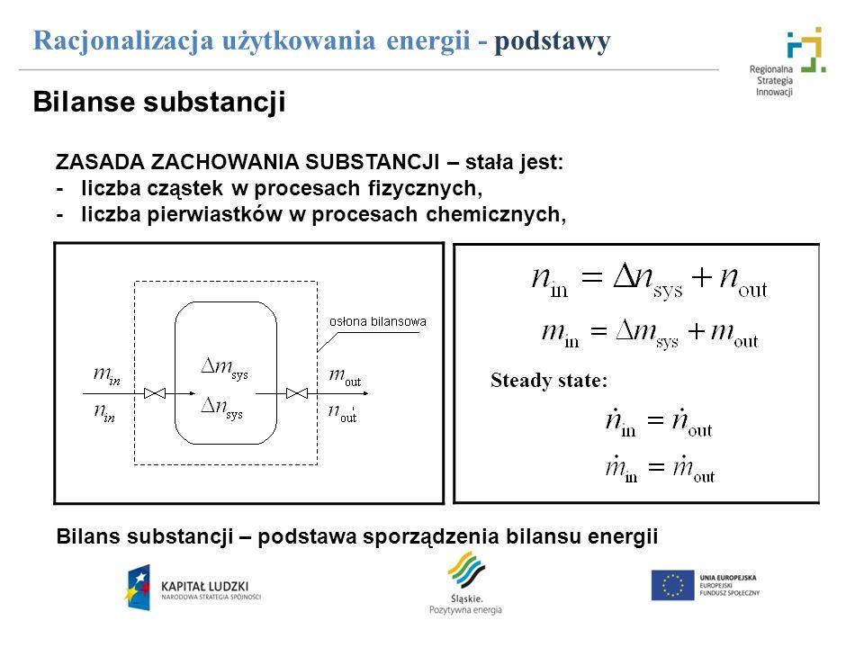 Racjonalizacja użytkowania energii - podstawy Bilanse energii System może wymieniać energię ze swoim otoczeniem za pomocą: - pracy mechanicznej ( W ) - energii elektrycznej ( Eel ) - ciepła ( Q ) - energii przepływającej strugi ( H ) Energia strumienia substancji: Energia wewnętrzna układu: Równanie Gibbsa: