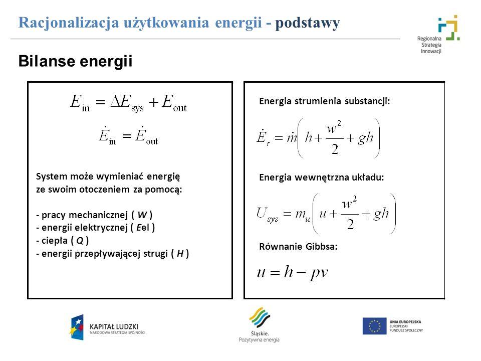 Racjonalizacja użytkowania energii - podstawy Bilanse energii System może wymieniać energię ze swoim otoczeniem za pomocą: - pracy mechanicznej ( W )