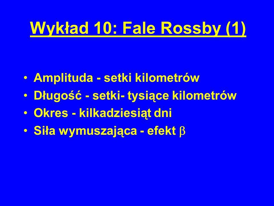 Wykład 10: Fale Rossby (1) Amplituda - setki kilometrów Długość - setki- tysiące kilometrów Okres - kilkadziesiąt dni Siła wymuszająca - efekt