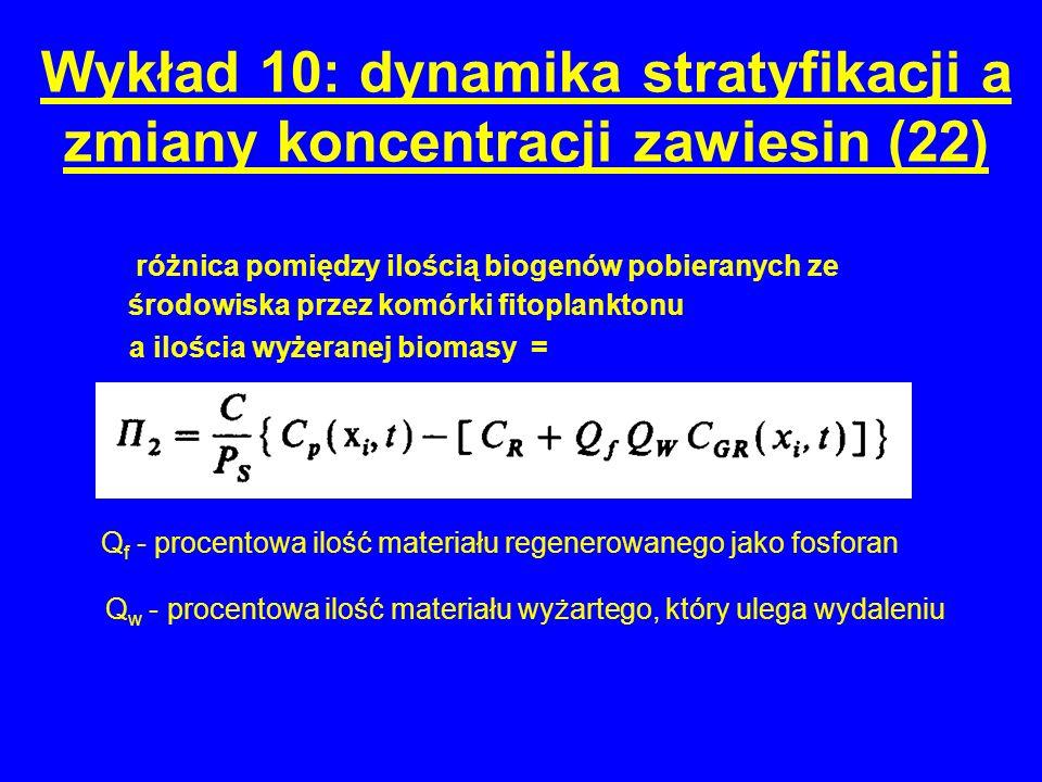 Wykład 10: dynamika stratyfikacji a zmiany koncentracji zawiesin (22) różnica pomiędzy ilością biogenów pobieranych ze środowiska przez komórki fitoplanktonu a ilościa wyżeranej biomasy = Q f - procentowa ilość materiału regenerowanego jako fosforan Q w - procentowa ilość materiału wyżartego, który ulega wydaleniu