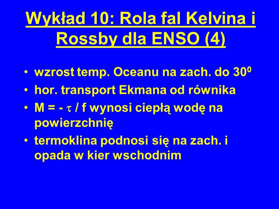 Wykład 10: Rola fal Kelvina i Rossby dla ENSO (4) wzrost temp.
