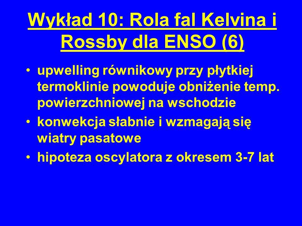 Wykład 10: Rola fal Kelvina i Rossby dla ENSO (6) upwelling równikowy przy płytkiej termoklinie powoduje obniżenie temp.