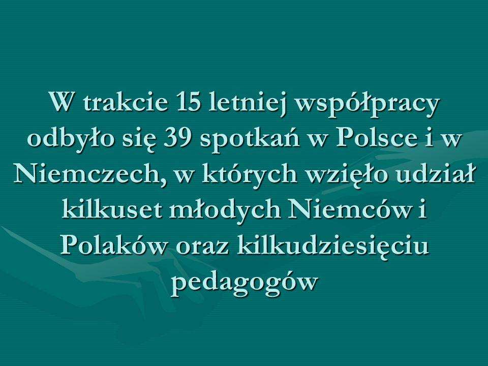 W trakcie 15 letniej współpracy odbyło się 39 spotkań w Polsce i w Niemczech, w których wzięło udział kilkuset młodych Niemców i Polaków oraz kilkudzi