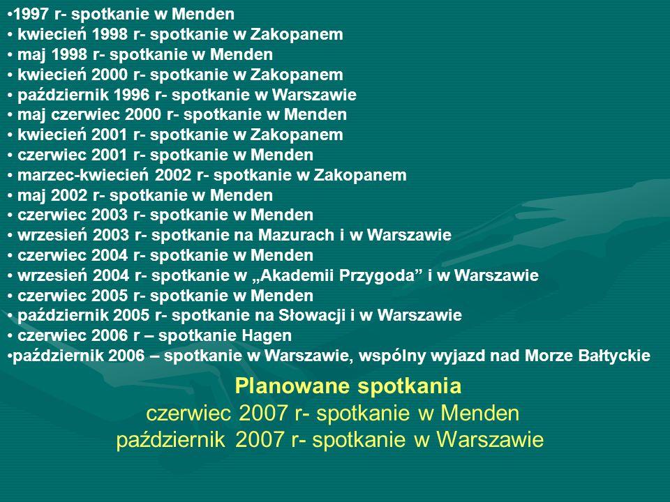 1997 r- spotkanie w Menden kwiecień 1998 r- spotkanie w Zakopanem maj 1998 r- spotkanie w Menden kwiecień 2000 r- spotkanie w Zakopanem październik 19