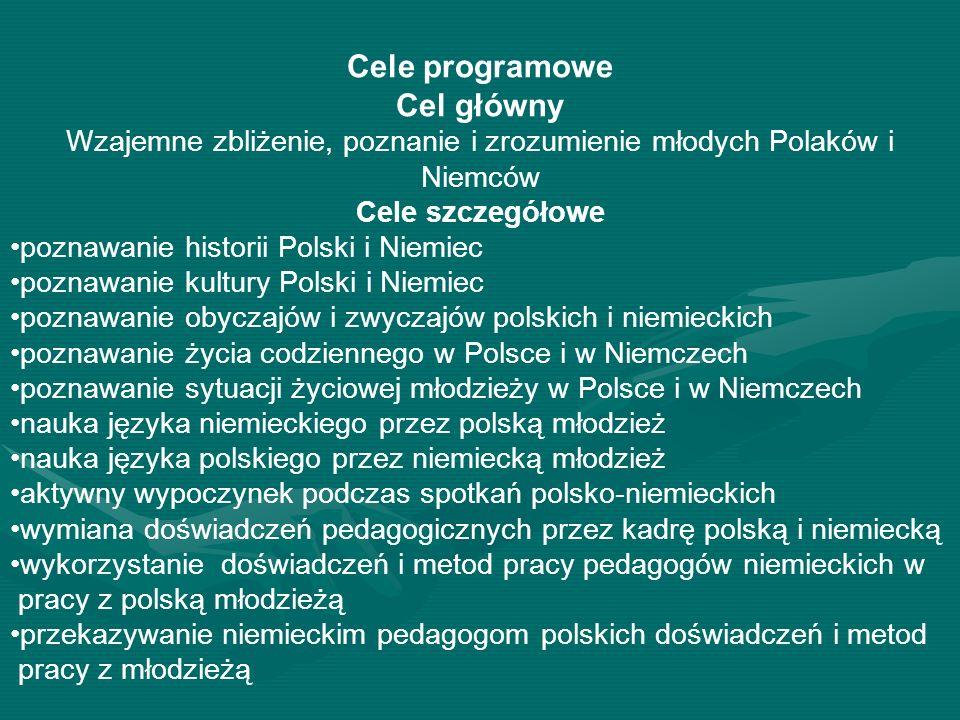 Cele programowe Cel główny Wzajemne zbliżenie, poznanie i zrozumienie młodych Polaków i Niemców Cele szczegółowe poznawanie historii Polski i Niemiec