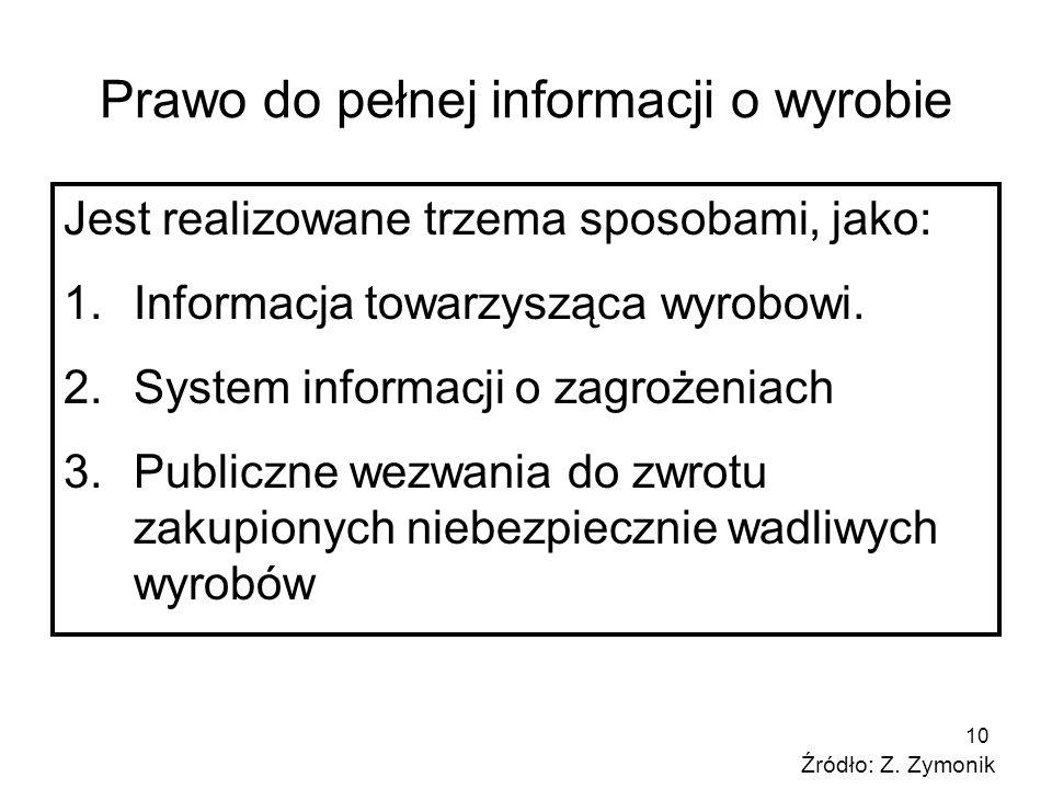 10 Prawo do pełnej informacji o wyrobie Jest realizowane trzema sposobami, jako: 1.Informacja towarzysząca wyrobowi. 2.System informacji o zagrożeniac
