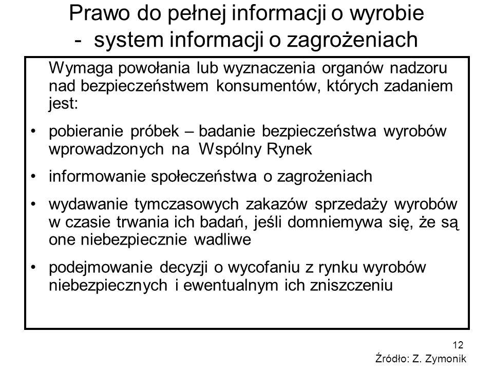 12 Prawo do pełnej informacji o wyrobie - system informacji o zagrożeniach Wymaga powołania lub wyznaczenia organów nadzoru nad bezpieczeństwem konsum