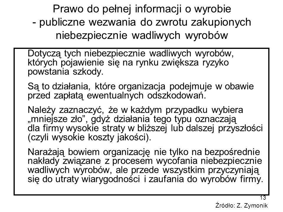 13 Prawo do pełnej informacji o wyrobie - publiczne wezwania do zwrotu zakupionych niebezpiecznie wadliwych wyrobów Dotyczą tych niebezpiecznie wadliw