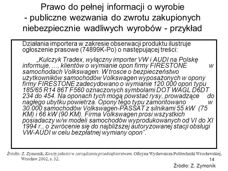 14 Prawo do pełnej informacji o wyrobie - publiczne wezwania do zwrotu zakupionych niebezpiecznie wadliwych wyrobów - przykład Działania importera w z