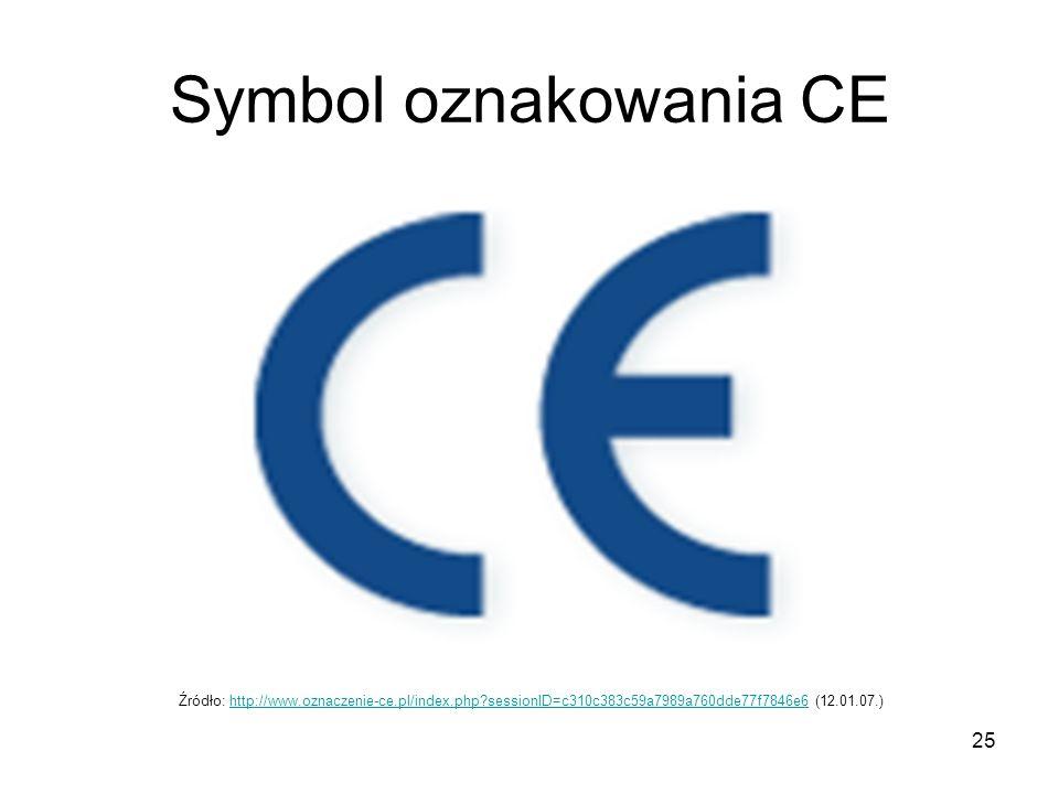 25 Symbol oznakowania CE Źródło: http://www.oznaczenie-ce.pl/index.php?sessionID=c310c383c59a7989a760dde77f7846e6 (12.01.07.)http://www.oznaczenie-ce.