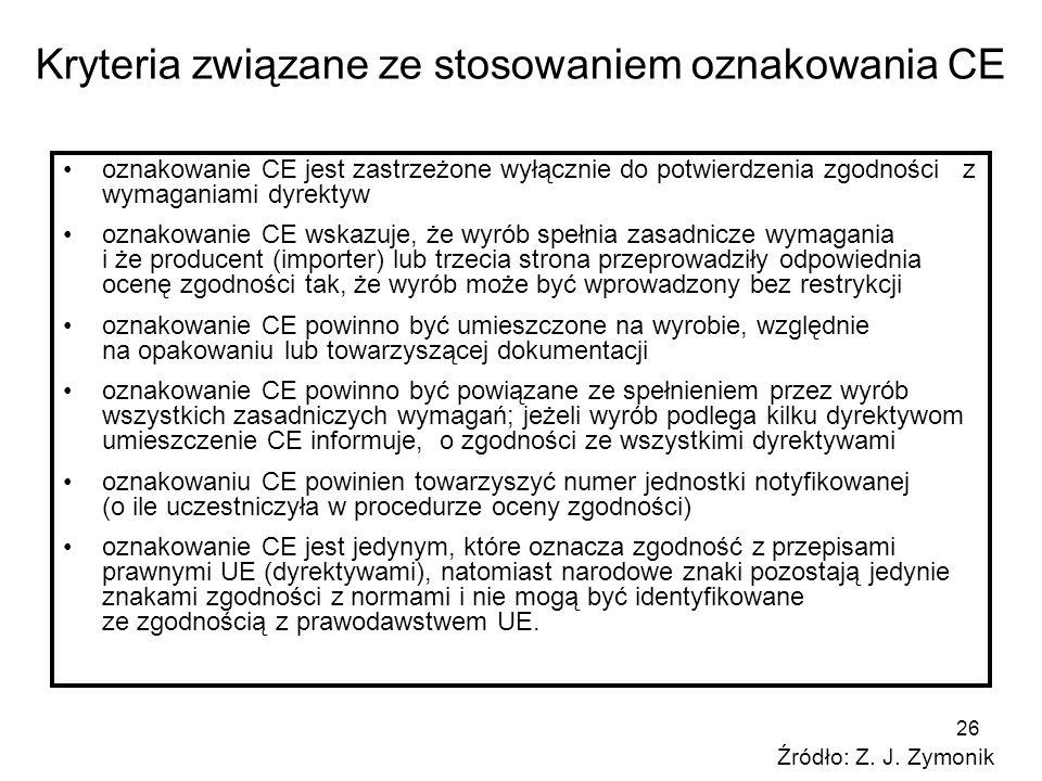 26 Kryteria związane ze stosowaniem oznakowania CE oznakowanie CE jest zastrzeżone wyłącznie do potwierdzenia zgodności z wymaganiami dyrektyw oznakow