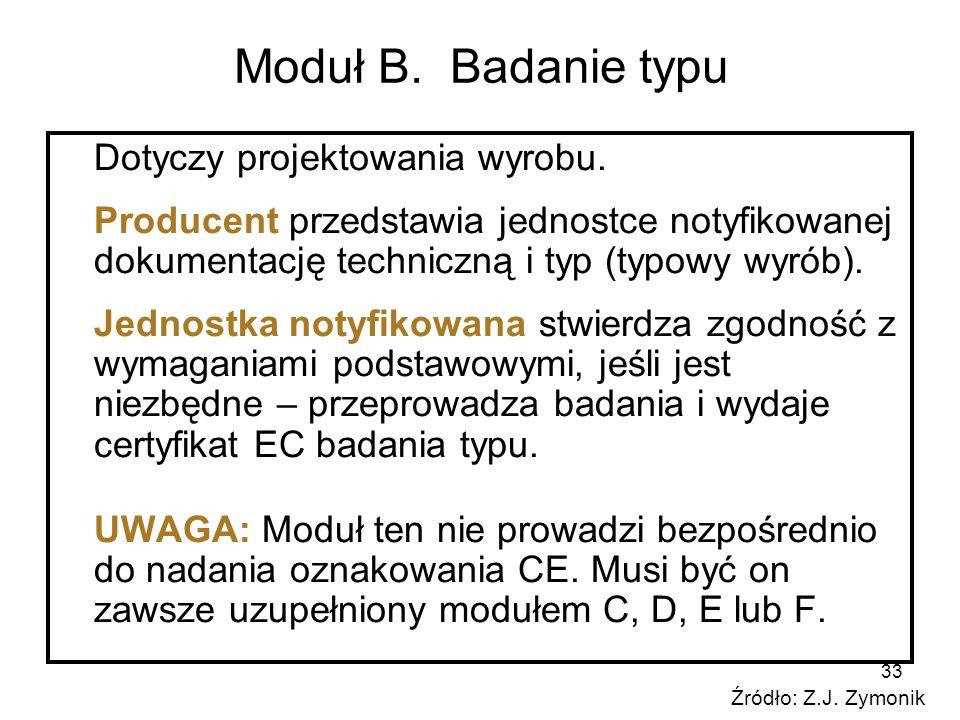 33 Moduł B. Badanie typu Dotyczy projektowania wyrobu. Producent przedstawia jednostce notyfikowanej dokumentację techniczną i typ (typowy wyrób). Jed