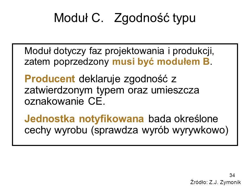 34 Moduł C. Zgodność typu Moduł dotyczy faz projektowania i produkcji, zatem poprzedzony musi być modułem B. Producent deklaruje zgodność z zatwierdzo