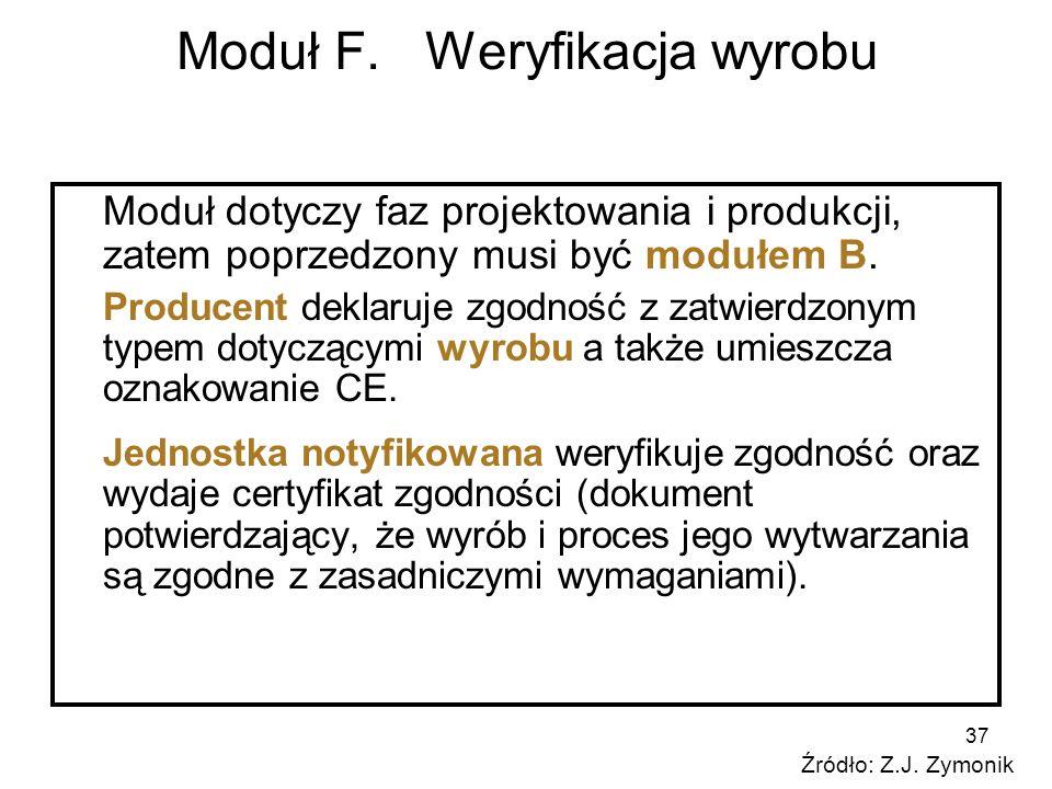 37 Moduł F. Weryfikacja wyrobu Moduł dotyczy faz projektowania i produkcji, zatem poprzedzony musi być modułem B. Producent deklaruje zgodność z zatwi