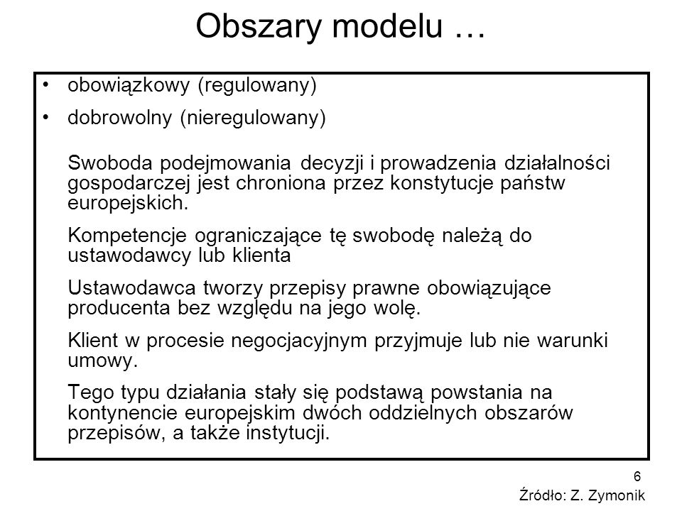 6 Obszary modelu … obowiązkowy (regulowany) dobrowolny (nieregulowany) Swoboda podejmowania decyzji i prowadzenia działalności gospodarczej jest chron