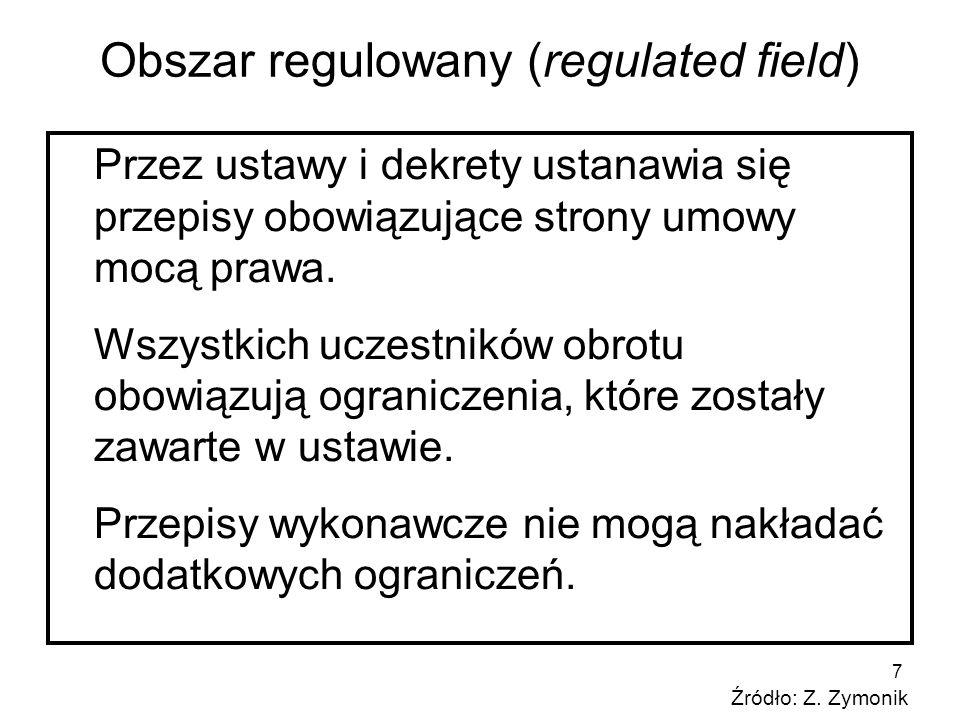 7 Obszar regulowany (regulated field) Przez ustawy i dekrety ustanawia się przepisy obowiązujące strony umowy mocą prawa. Wszystkich uczestników obrot
