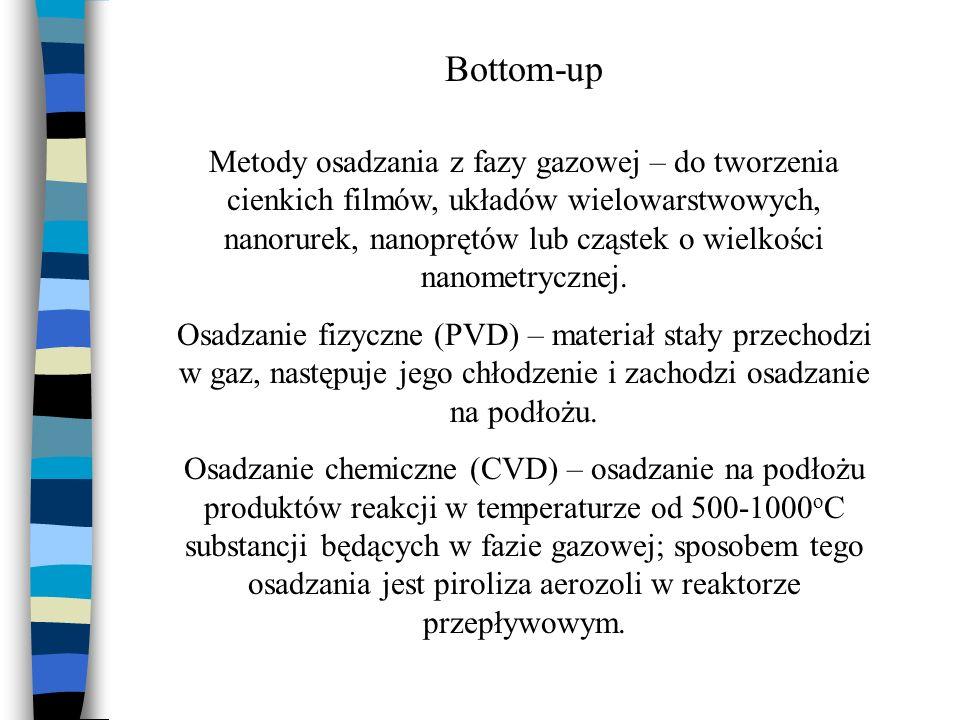 Bottom-up Metody osadzania z fazy gazowej – do tworzenia cienkich filmów, układów wielowarstwowych, nanorurek, nanoprętów lub cząstek o wielkości nano