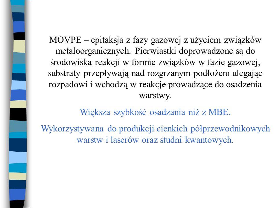 MOVPE – epitaksja z fazy gazowej z użyciem związków metaloorganicznych. Pierwiastki doprowadzone są do środowiska reakcji w formie związków w fazie ga