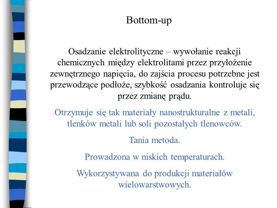 Bottom-up Osadzanie elektrolityczne – wywołanie reakcji chemicznych między elektrolitami przez przyłożenie zewnętrznego napięcia, do zajścia procesu p