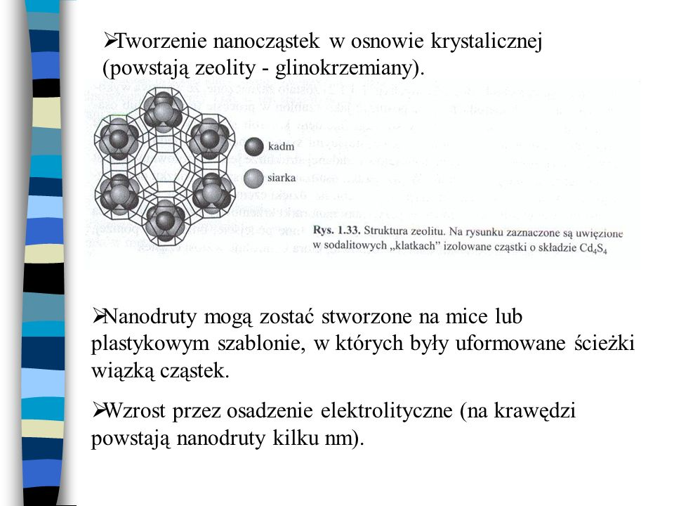 Tworzenie nanocząstek w osnowie krystalicznej (powstają zeolity - glinokrzemiany). Nanodruty mogą zostać stworzone na mice lub plastykowym szablonie,