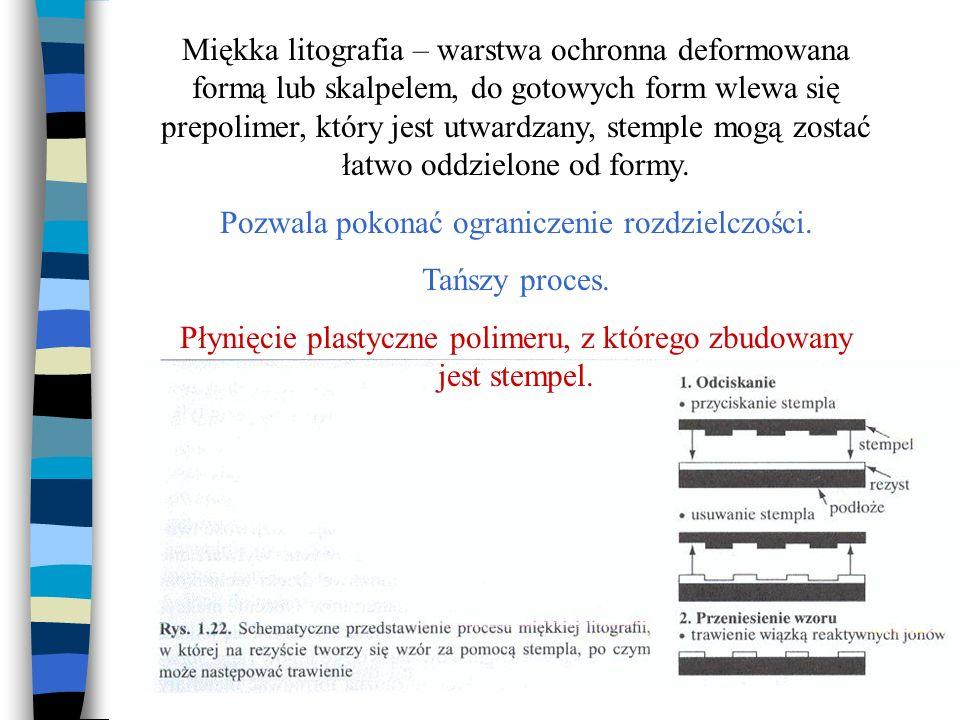 Miękka litografia – warstwa ochronna deformowana formą lub skalpelem, do gotowych form wlewa się prepolimer, który jest utwardzany, stemple mogą zosta