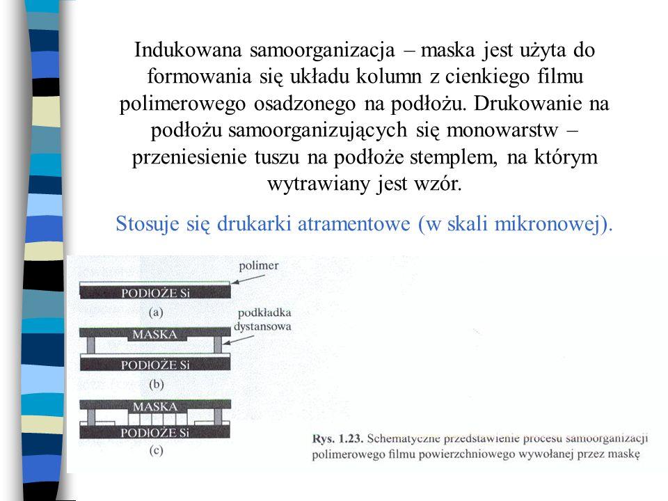 Indukowana samoorganizacja – maska jest użyta do formowania się układu kolumn z cienkiego filmu polimerowego osadzonego na podłożu. Drukowanie na podł