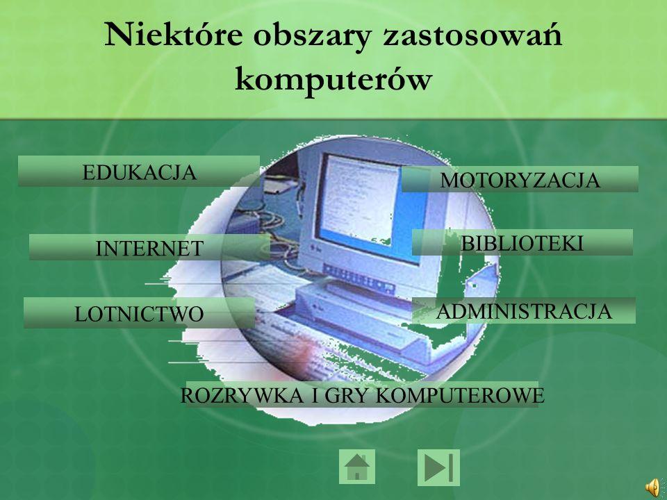 Niektóre obszary zastosowań komputerów EDUKACJA INTERNET LOTNICTWO MOTORYZACJA ADMINISTRACJA BIBLIOTEKI ROZRYWKA I GRY KOMPUTEROWE