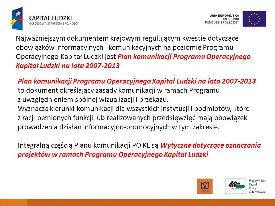 Najważniejszym dokumentem krajowym regulującym kwestie dotyczące obowiązków informacyjnych i komunikacyjnych na poziomie Programu Operacyjnego Kapitał