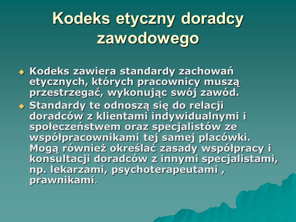Kodeks etyczny doradcy zawodowego Kodeks zawiera standardy zachowań etycznych, których pracownicy muszą przestrzegać, wykonując swój zawód. Kodeks zaw