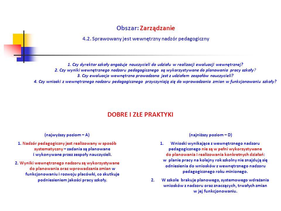 Obszar: Zarządzanie 4.2. Sprawowany jest wewnętrzny nadzór pedagogiczny (najwyższy poziom – A) 1. Nadzór pedagogiczny jest realizowany w sposób system