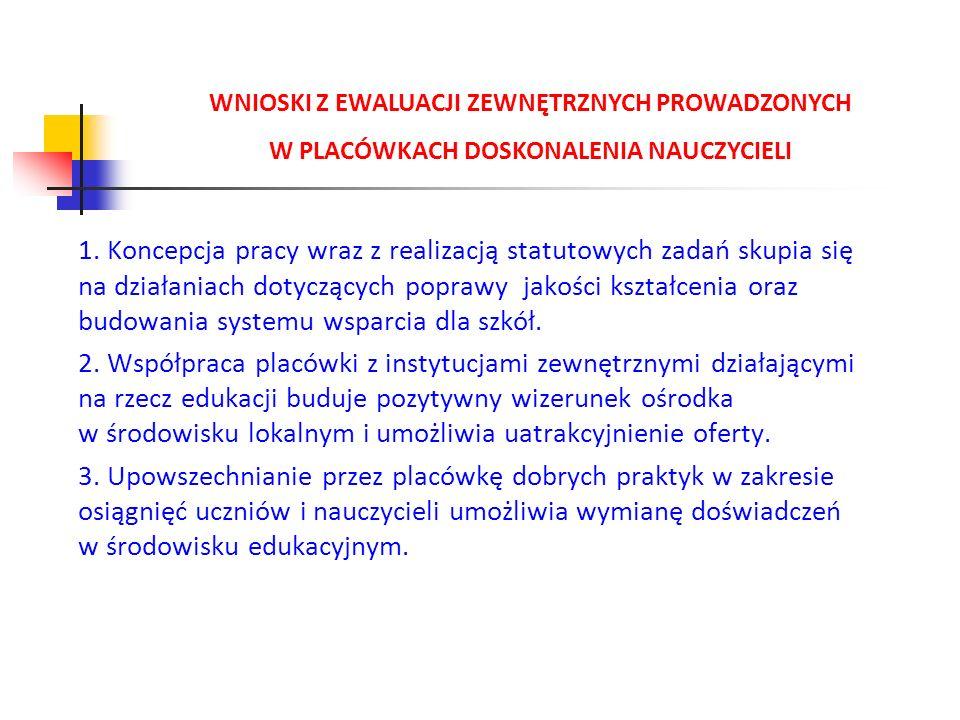 WNIOSKI Z EWALUACJI ZEWNĘTRZNYCH PROWADZONYCH W PLACÓWKACH DOSKONALENIA NAUCZYCIELI 1. Koncepcja pracy wraz z realizacją statutowych zadań skupia się