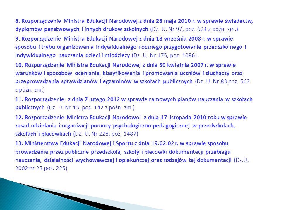8. Rozporządzenie Ministra Edukacji Narodowej z dnia 28 maja 2010 r. w sprawie świadectw, dyplomów państwowych i innych druków szkolnych (Dz. U. Nr 97